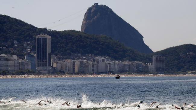 Competitors swim on Copacabana beach in Rio de Janeiro, Brazil, August 2, 2015. Credit: Sergio Moraes/Reuters, via pri.org.