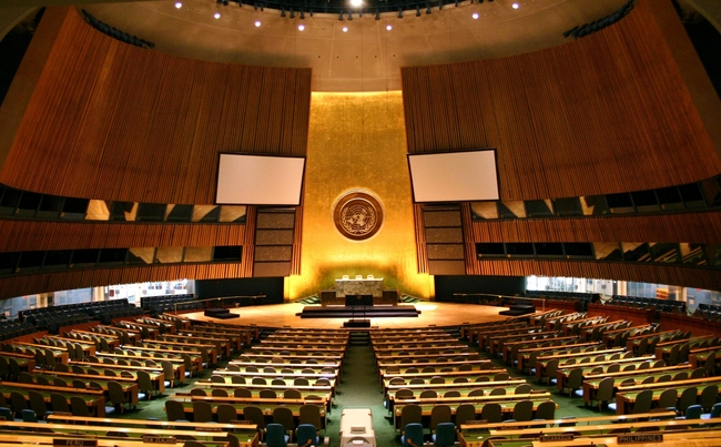 The UN General Assembly hall. Image via wikimedia.org