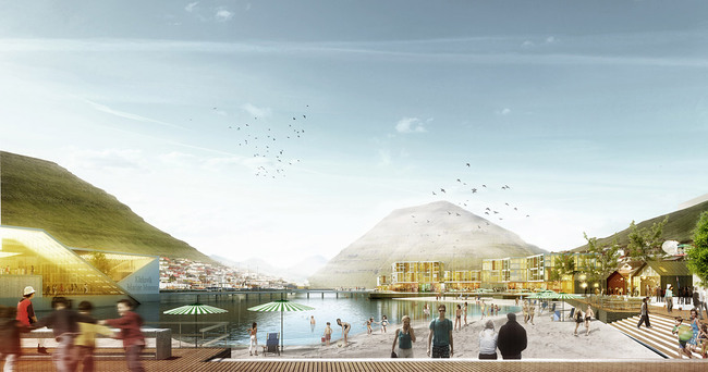 Rendering of the competition-winning design for Klaksvík City Center by Henning Larsen Architects (Image: Henning Larsen Architects)