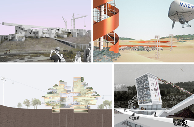Renderings by Pratt Institute graduate architecture students, clockwise from upper left: Mixed-use business and cultural district by Jeffrey Autore; dynamic landscapes and event spaces, including towers and a solar airplane by Joselia Mendiolea;