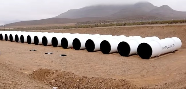 Hyperloop Technologies' test tubes awaiting assembly. Screenshot via inverse.com