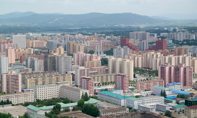 A pastel-colored dream of modernist urbanism: Pyongyang. (Photo: Oliver Wainwright; image via theguardian.com)