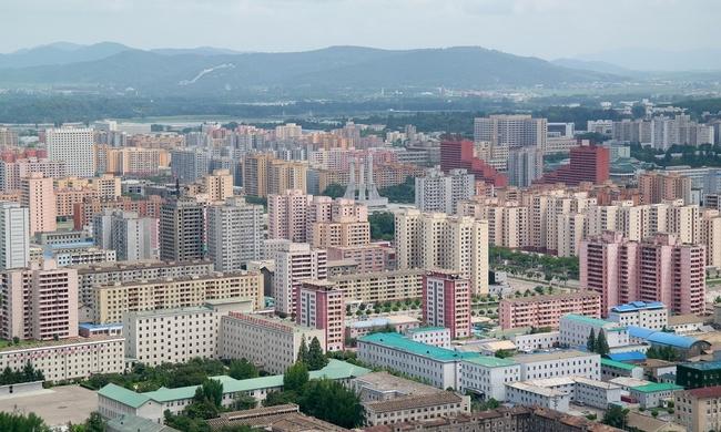 A pastel-colored dream of modernist urbanism: Pyongyang. (Photo: Oliver Wainwright; image via theguardian.com)