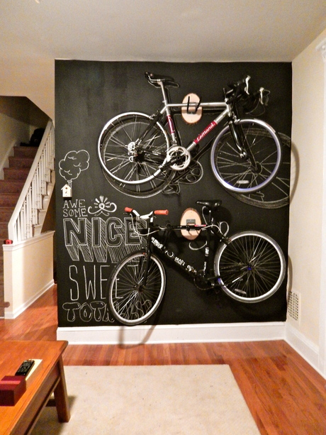 Residential freelance work. Chalkboard:bike rack wall via Sarah Finkelstein