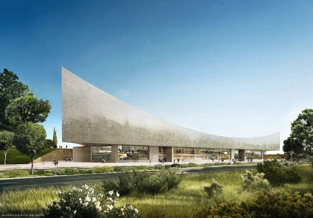 Exterior render of the National Library. Credit: Herzog & de Meuron