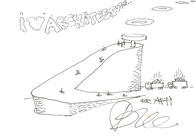 Bjarke Ingels | BIG, Waste to Energy Plant. 4/24/12, pen on envelope, 5.75 x 7.75