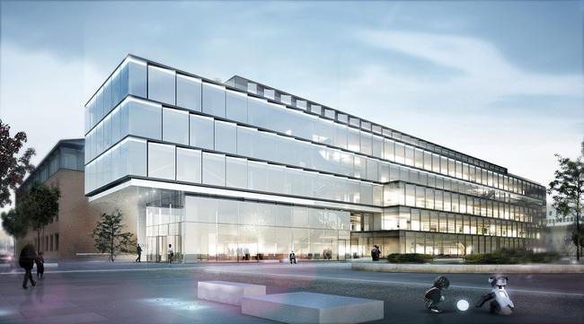 Exterior rendering of HENN's Glazed Software Factory design © HENN