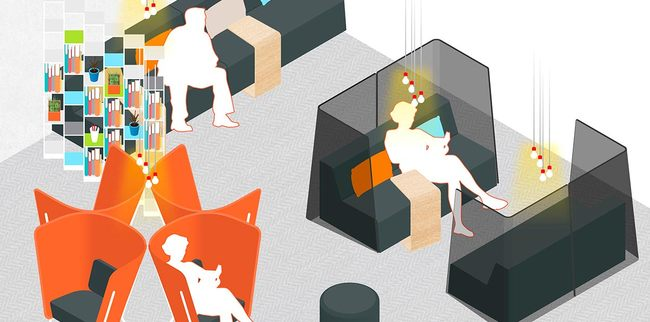 """A design sketch by Ideo for """"the Hub,"""" a waiting room with maximized privacy via """"nesting spaces."""" Credit: Ideo / Planned Parenthood"""