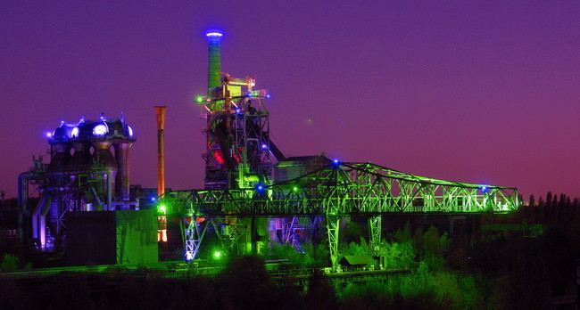 Landschaftspark Duisburg Nord by night, Germany