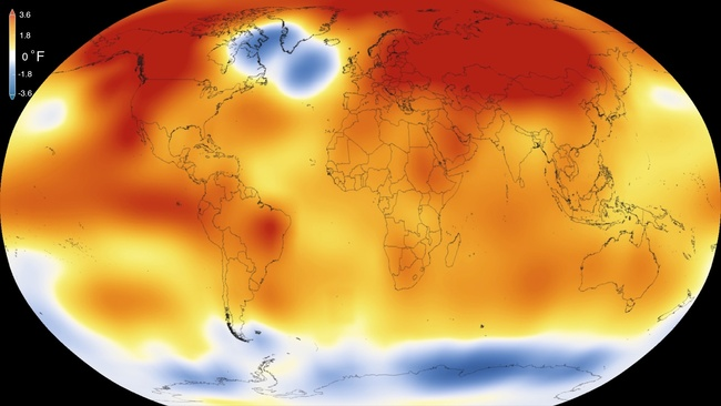 This map by NASA shows abberrations in temperatures in 2015 compared to long-term averages. Credit: NASA
