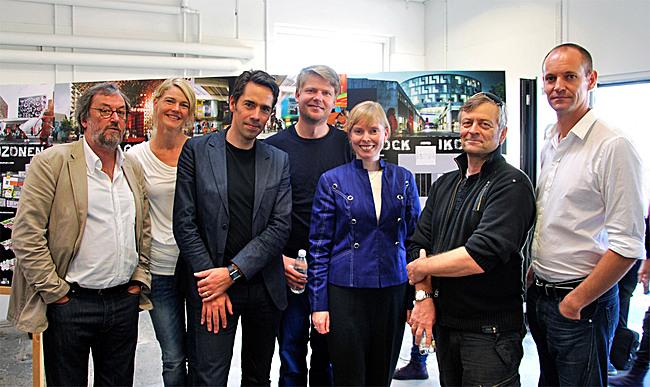From left to right: Frank Birkebæk (Roskilde Museum / Danish Rock Museum), Lena Bruun (Danish Rock Museum), Jacob van Rijs (MVRDV architects), Dan Stubsgaard (COBE architects), Joy Mogensen (Mayor of Roskilde), Henrik Rasmussen (Roskilde / Roskilde Group), Jesper Oland-Elkjaer (Roskilde University); Photographer: Andreas Lindqvist