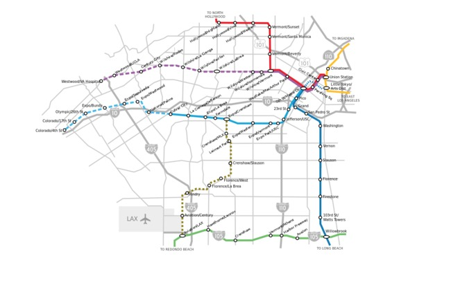 A map of current and proposed public rail lines in Los Angeles (proposed lines are dashed). Credit: Wikipedia