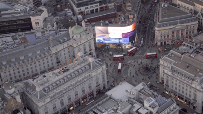 Gotta be above it: a screenshot of Jason Hawkes' aerial survey of London