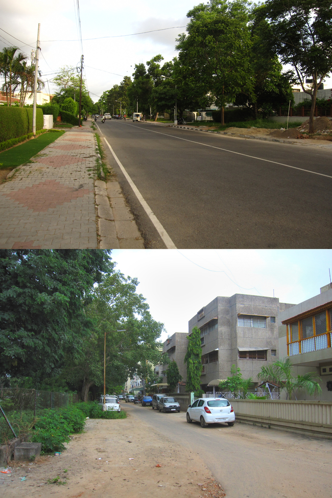 Top: Chandigarh's Suburbia Bottom: Gandhinagar's counterpart