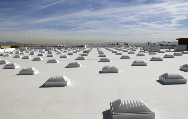 "A white roof, or ""cool roof"" in Las Vegas. New studies prove that such roofs can drastically reduce temperatures during a heat wave. Credit: Wikipedia."