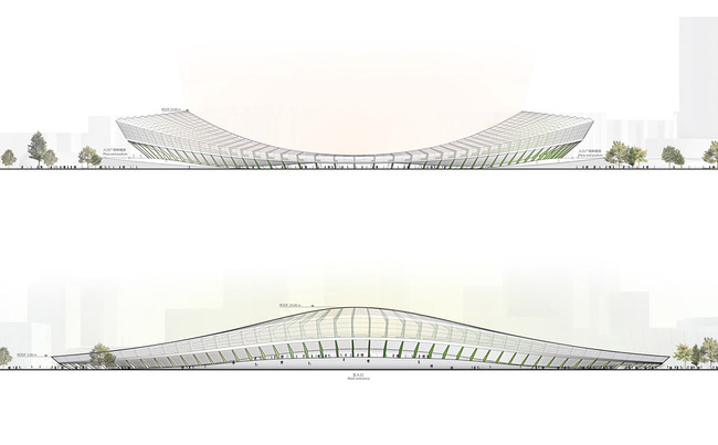Elevation of the main stadium (Image: Henn Architekten)