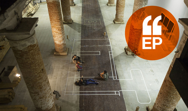 """Anupama Kundoo and her team prepare to set up their installation, """"Building Knowledge,"""" in the Arsenale in Venice. Image credit: Marta San Vicente"""