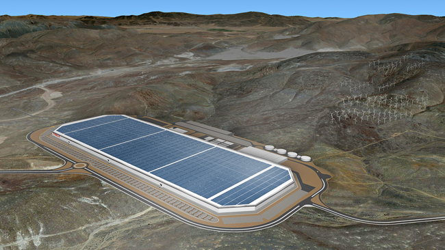 The behemoth solar panel covered Tesla factory. Image: Tesla
