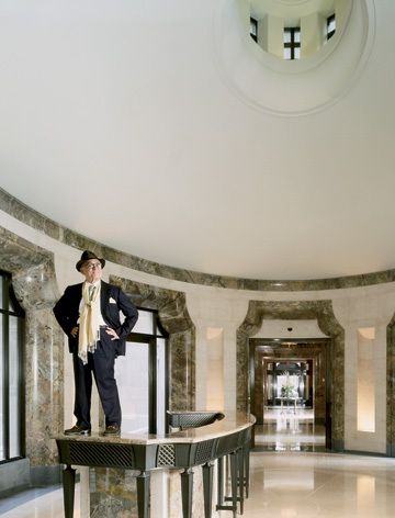 Robert A.M. Stern Robert A. M. Stern stands on the concierge desk at 15 Central Park West by Todd Eberle (for Vanity Fair)