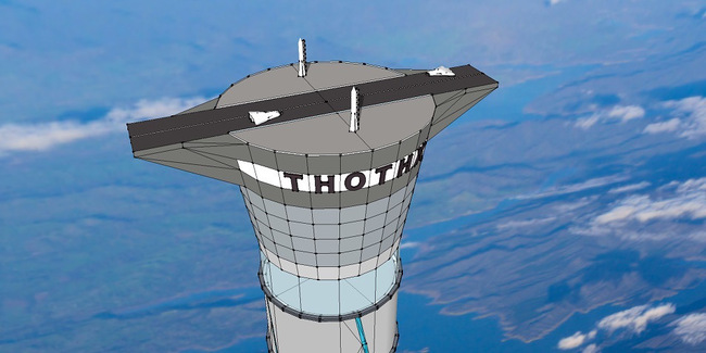 US and UK patents for a space elevator 12 miles (19.3 km) high have been granted to Canadian space company, Thoth Technology. (Image via qz.com)