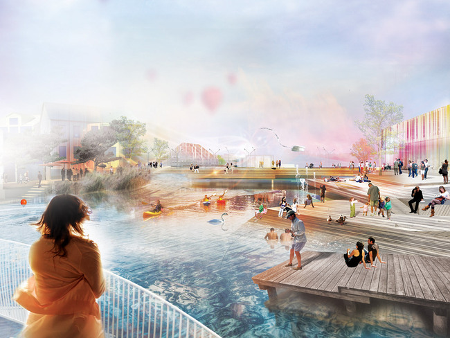 Rendering of the winning proposal, Down by the River (Image: Mandaworks and Hosper Sweden)