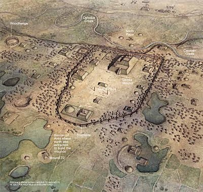 an artist's rendition of the Imperial capital of Cahokia; the city may have supported a population of 15,000, connected to surrounding urban sites with specialized economies