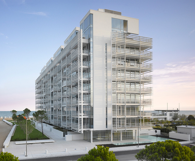 Architecture Honor Award Winner: Jesolo Lido Condominium in Jesolo Lido, Italy by Richard Meier & Partners Architects (Image Credit: Roland Halbe Courtesy of Richard Meier & Partners)