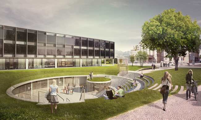 Exterior view of the proposed Citizen and Media Center in Stuttgart, Germany by Henning Larsen Architects (Illustration: Henning Larsen Architects)