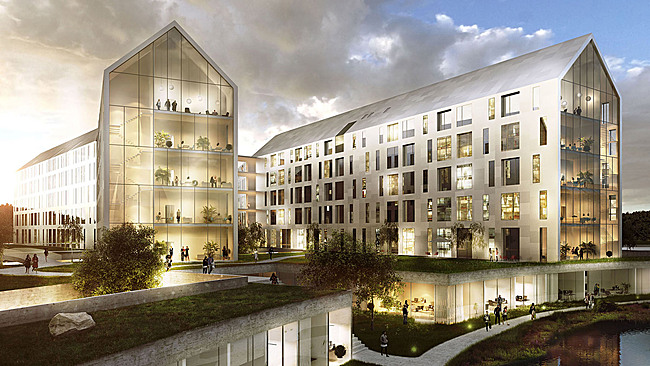 "Finalist proposal ""Aurora"" for the new Odense University Hospital by Henning Larsen Architects, Friis & Moltke, TKT, Cowi, Rambøll Danmark, SLA Landscape and NNE Pharmaplan (Image: Henning Larsen Architects)"