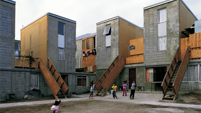 Photo of Elemental's Quinta Monroy houses in Chile courtesy Cristobal Palma.