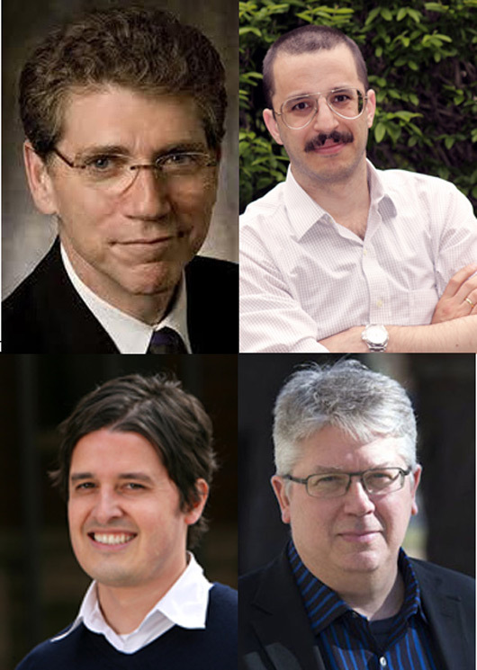 Clockwise from upper-left: Daniel Friedman (University of Hawaii), Jonathan Solomon (School of the Art Institute of Chicago), Peter MacKeith (University of Arkansas), Marc Swackhamer (University of Minnesota).