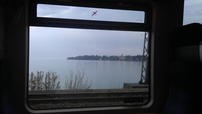 train arrives at lake