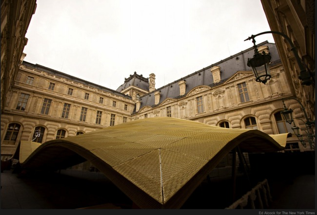"The Louvre's new ""luminous veil,'' or ""flying carpet"" as it has also been called, covers some 30,000 square feet of gallery space on the ground and lower floors via NYT"
