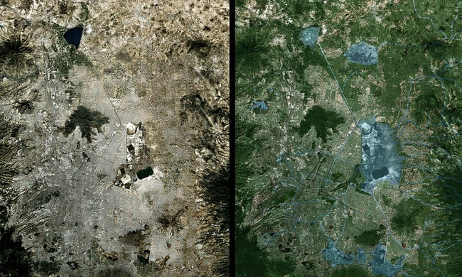 Cuenca del Valle de Mexico ('the Basin of Mexico') seen from the air, and, right, how it would look under the proposal to regenerate its lakes and reforest the area. Photograph: Taller de Arquitectura X