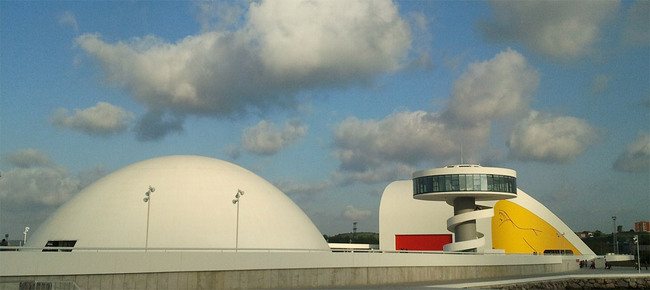 Oscar Niemeyer International Cultural Centre, Avils, Asturias, Spain; opened in spring 2011, forced to close due to budget cuts on December 15 of the same year