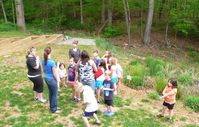 The kids learning about the landscape