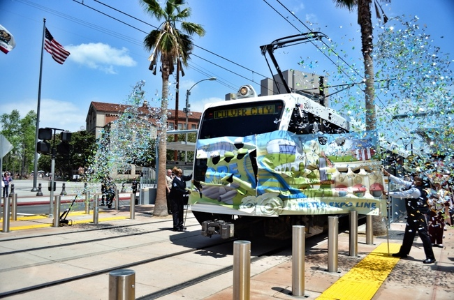 Celebration of the Expo Line's opening in 2012. Image via thesource.metro.net.
