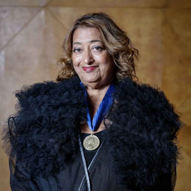 Zaha Hadid proudly wearing the Royal Gold Medal. Photo: Sophie Mutevelian.