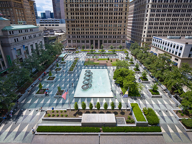 Mellon Square in Pittsburgh was named as a winner in the 2016 Modernism in America Awards. Photo Credit: © Ed Massery 2014 for the Pittsburgh Parks Conservancy.
