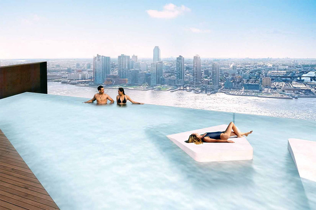 Marina Bay Sands lite: rendering of the infinity pool on the American Copper Buildings east tower rooftop. (Image: JDS Development; via bloomberg.com)