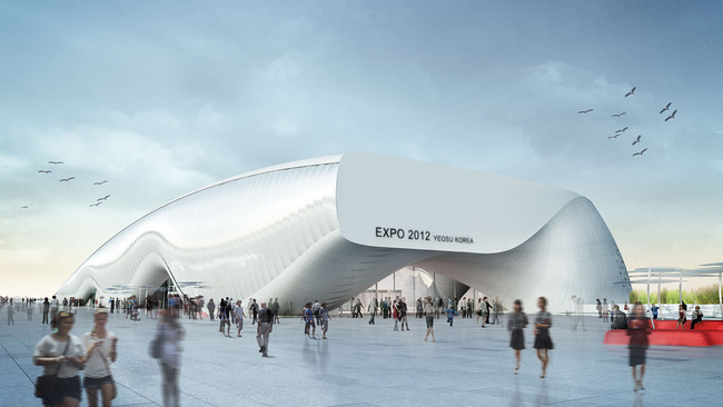 "Rendering of ""One Ocean"", Thematic Pavilion EXPO 2012 in Yeosu, South Korea (Image: soma)"