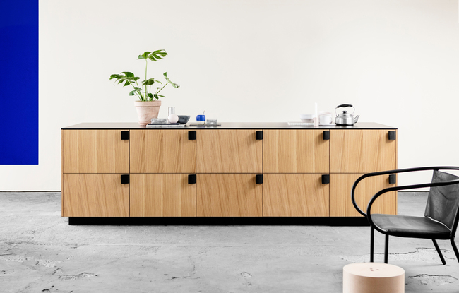 Bjarke Ingels Group's hacked IKEA kitchen cabinets for Reform. Photo via Reform.