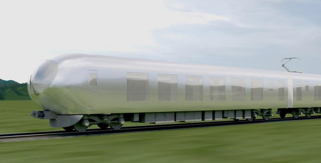 Initial rendering of Kazuyo Sejima's proposal for the Seibu Group's new bullet train. Image via Spoon & Tamago.