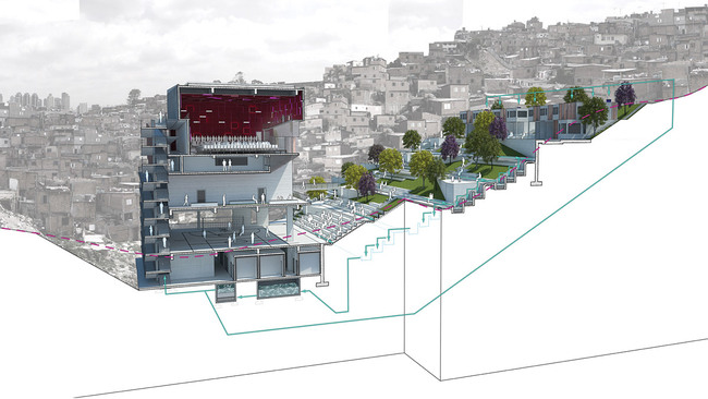 Global Holcim Awards Silver 2012: Urban remediation and civic infrastructure hub, So Paulo, Brazil: Landscape and building systems. (Image  Holcim Foundation)