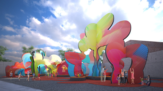 Balloon Frame by Pita & Bloom, finalist entry for MoMA PS1 YAP 2014. Image courtesy of Pita & Bloom