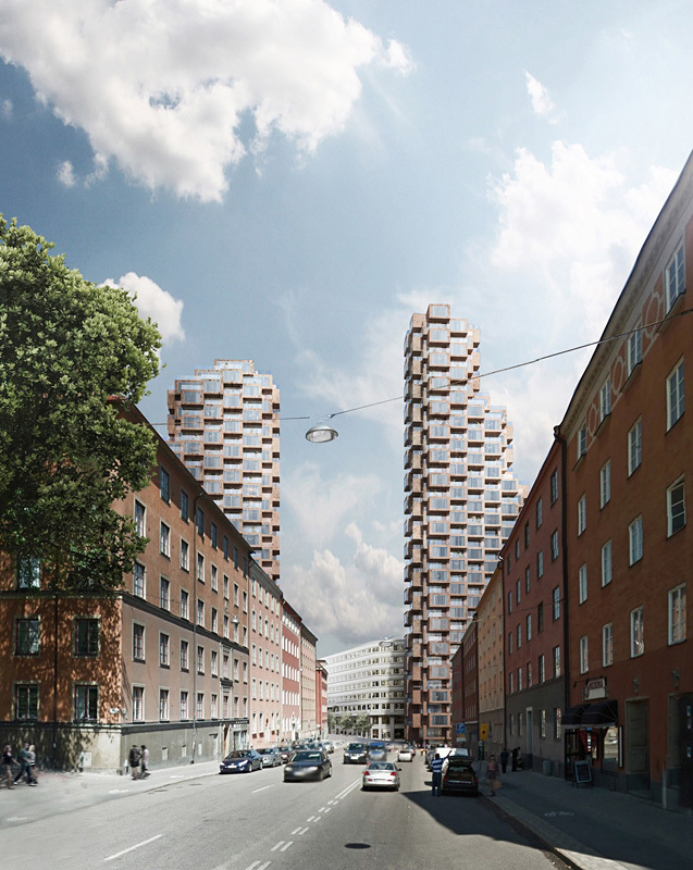 Rendering of OMA's proposed twin skyscrapers for Stockholm (Image: OMA)
