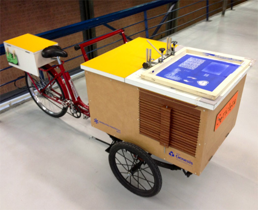 Monica Schoenacker's Sericleta — a bicycle outfitted with a silkscreen press. [Photo by Jonathan Massey]