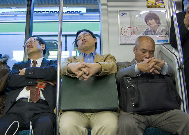 """Inemuri,"" or the practice of sleeping on the job, is enshrined in workplace culture in Japan. Credit: Wikipedia"