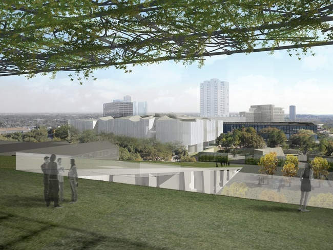 A view of the Fayez S. Sarofim Campus from the planned rooftop terrace of the Glassell School of Art. (via chron.com; Image: Steven Holl Architects