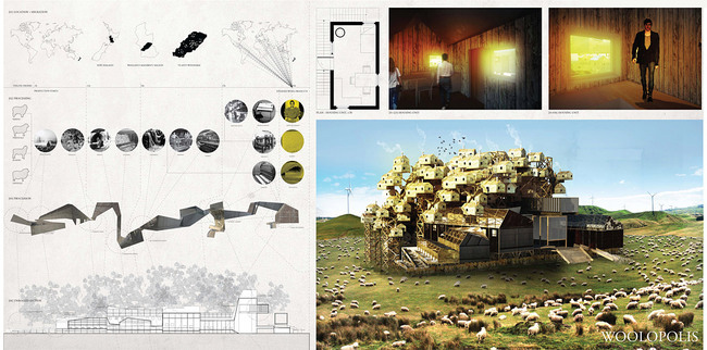 competition-winning proposal 'Woolopolis' by Hannes Frykholm and Henry Stephens (Sweden:New Zealand)